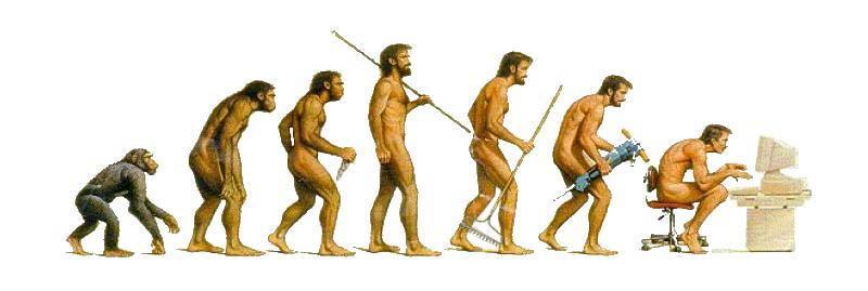 Evolution of men sitting at office desk.